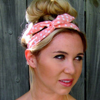 Bun Wire Wrap Light Pink White Polka Dot Wired Flex Headband Pin Up Girl Buns PonyTail Braid Ins Bun Wraps - 25 COLORS, Choose Your Color