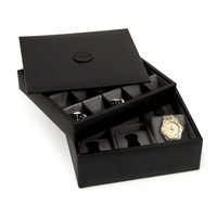 Black Leather Stacked Valet for 6 Watches and 20 Cufflinks with Lid.