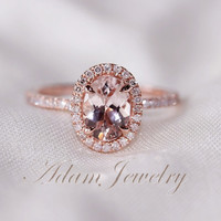 Oval Cut  6x8mm VS  Halo Morganite Ring 14K Rose Gold SI/H Diamonds Wedding Ring /Engagement Ring/ Promise Ring/ Anniversary Ring