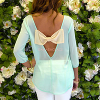 Sweet Dreams Mint Chiffon Bow Back Blouse