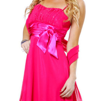Spaghetti Strapped Sleeveless Short Fuchsia Bridesmaid Dress