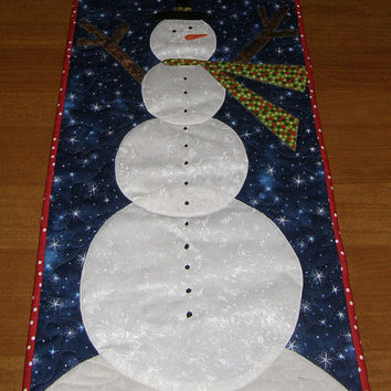 Quilted Table Runner Snowman Christmas Winter Quilt