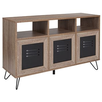 """Woodridge Collection 44""""""""W Wood Grain Finish Console and Storage Cabinet with Metal Doors"""
