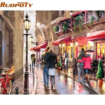 RUOPOTY Street Lover DIY Painting By Numbers Kits Acrylic Paint On Canvas Hand Painted Oil Painting Modern Wall Art Picture