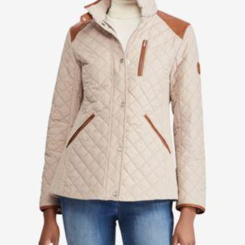 1f54ed94 Ralph Lauren Blush Quilted Barn Jacket w/Faux Leather Trim S