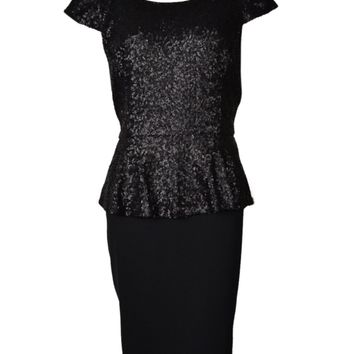 Calvin Klein Women's Sequined V-Back Peplum Dress