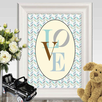 Love printable Boys bedroom decor Nursery wall art Blue gray Herringbone print Baby boys art 5x7 8x10 Baby shower gift idea INSTANT DOWNLOAD