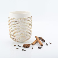 Glam Spike Porcelain Mug Decorated with Genuine Gold
