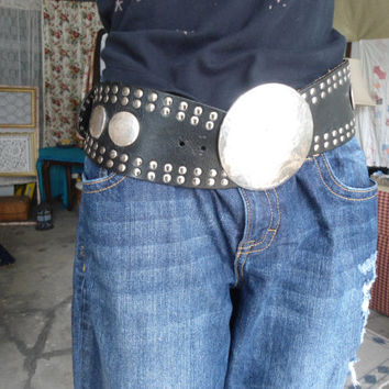 Vintage 80s Hippie Bohemian Moroccan Steampunk Gothic Rocker Studded etched Concho Wide Black Leather Belt Grunge