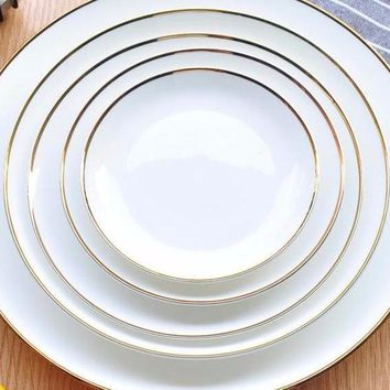 White Ceramic Dinner Plate with Gold Rim