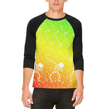 Cinco De Mayo Dancing Dabbing Skeletons Mens Raglan T Shirt