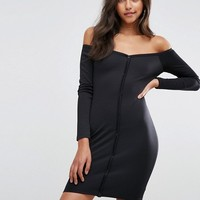 ASOS Mini Sweetheart Neck Button Through Bodycon Dress at asos.com