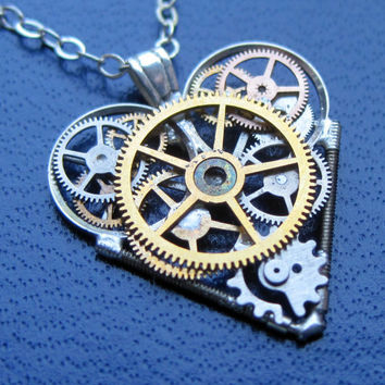 "Mini Clockwork Heart Necklace ""Wishful"" Elegant Industrial Heart Pendant Steampunk Clockwork Love Sculpture Gershenson-Gates Mechanical Mind"