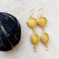 pastel drop hart lemon sunshine yellow jadestone- Long Earrings - Gold bridal Earrings - Gemstone Earrings -  israel jewelry