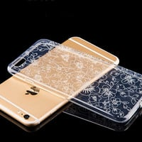 Hollow Lace Flower Transparent Iphone Cases for 6 6s plus
