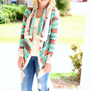 Tletl Aztec Cardigan - Mint Green and Mocha