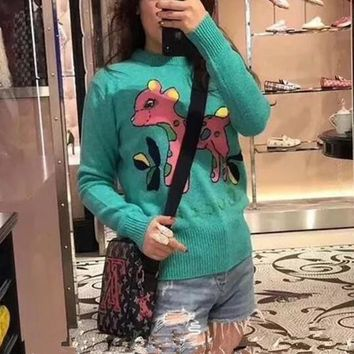 """Gucci"" Women Fashion Multicolor Embroidery Cartoon Fawn Long Sleeve Knit Sweater Pullover Tops"