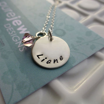 Personalized Hand Stamped Necklace - - Mommy Jewelry - - Sterling Silver Single Name