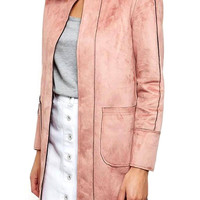 Light Pink Crew Neck Open Front Duster Coat with Pocket