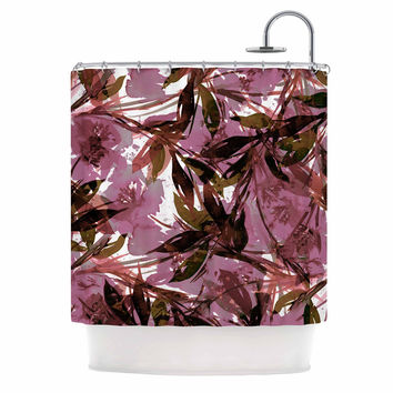"Ebi Emporium ""Floral Fiesta Mauve Pink"" Pattern Watercolor Shower Curtain"