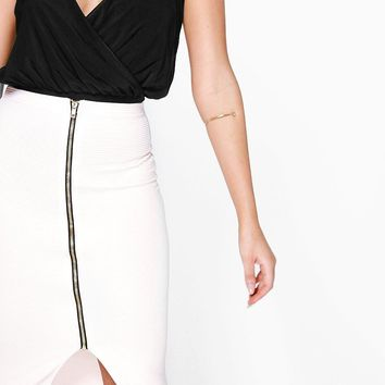 Ginny Zip Front Ribbed Mini Skirt