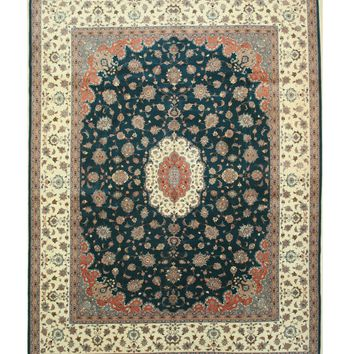 EORC Hand-knotted Wool Green Traditional Oriental Pak-Persian Rug