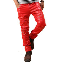 Men`s Punk Rock Red Studded Leather Motorcycle Hip Hop Hipster Night Club Biker Pants