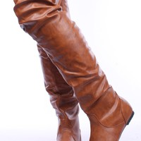 TAN FAUX LEATHER SCRUNCHED PULL UP OVER THE KNEE BOOTS