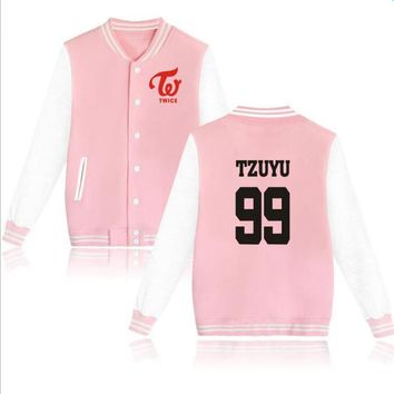 2017 New Arrivals TWICE Kpop Zip-up Harajuku Hoodies Fans Supportive BTS Baseball Uniform jackets Men Women pink Sweatshirt