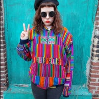 RAD vintage 80s GUATEMALAN patchwork bomber jacket, zip up, oversized, neon love (one size or 2XL)