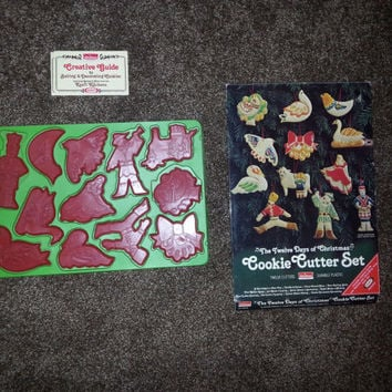 Vintage 1978 Chilton Housewares Durable Plastic The Twelve Days of Christmas Cookie Cutter Set - Made in USA-