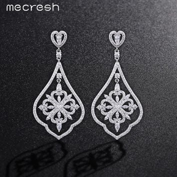 Mecresh High Quality Cubic Zirconia Square Shape Long Drop Earrings Silver Color Bride Prom Wedding Jewelry MEH807