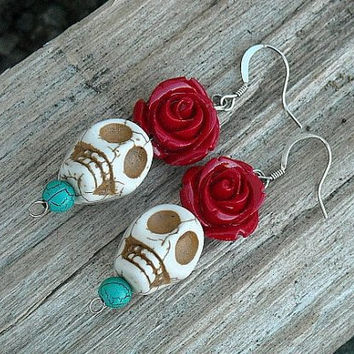 Day of the Dead Earrings, Day of the Dead Skull Earrings, White Skulls, Red Roses,