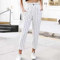 Vertical Striped Straight Trousers