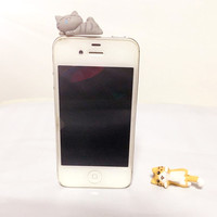 Cute cat dust plug for  Iphone 5 5s 6 6s  and all 3.5mm Earphone Jack Plug Headset Stopper Cap
