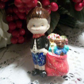 Boy Child British Palace Foot Guard Beefeater Yeoman Christmas Tree Ornament Hand Painted Porcelain Vintage Figurine Holiday Home Decor
