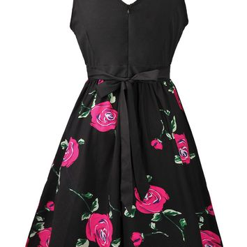 Streetstyle  Casual Round Neck Bowknot Skater Dress In Floral Printed