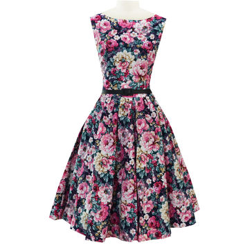 2015 Hepburn style vintage o neck sleeveless Peony print big sweep Palace prom party retro 50s dress
