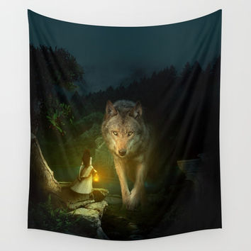 The Wolf Wall Tapestry by RIZA PEKER