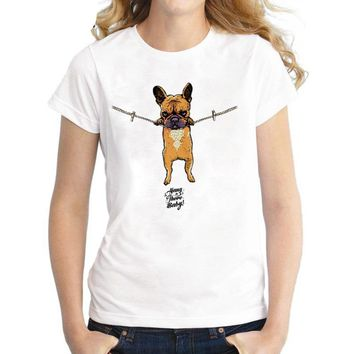 Hang in there Baby French Bulldog T-Shirts - Women's Top Tee