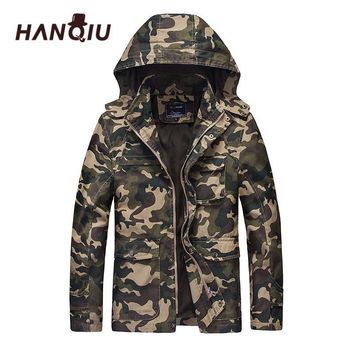 HANQIU Autumn Camouflage Military Jacket Men Hooded Slim Fit Cotton Men Camo Army Coat Fashion Homme Jacket Jaqueta Masculino
