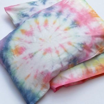 Tie Dye Rainbow Pillowcases x2 Custom Made to Order Hippie Bedding Tie Dye Bedding Boho Decor Hippy Home Tumblr Bedroom