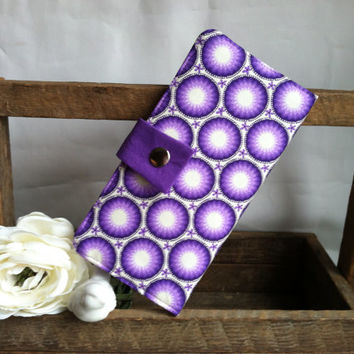 Purple circle Folded wallet, coin pouch, card slots, bill slots