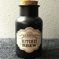 Warning Homemade Witches Brew Matte Black Apothecary Jar