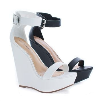 Vivi41 Black Pu By Breckelle's, Open Toe Ankle Cuff Platform High Wedge Heel Sandals