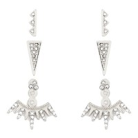 Urban Chic Statement Silver Spike Cairo Ear Jacket Double Sided Crystal Stud Earrings Mix and Match