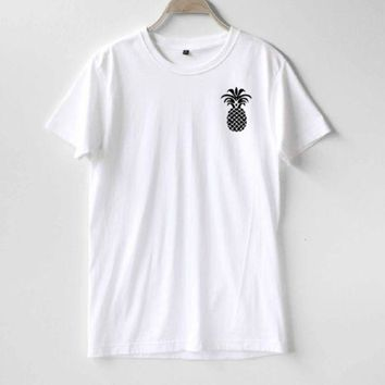PEAPJ1A Fashion letters pineapple blouse hippie punk womens t-shirt