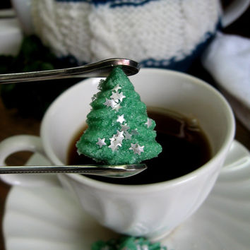 Green Christmas Tree Shaped Sugar Cubes with Edible Glitter Stars 3 Dozen