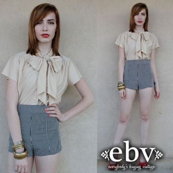 Vintage 70s Nude Ascot Bow Blouse Top S M