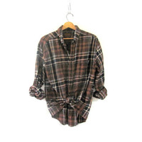 Vintage Plaid Flannel / Grunge Shirt / cotton button up shirt / brown shirt / size L
